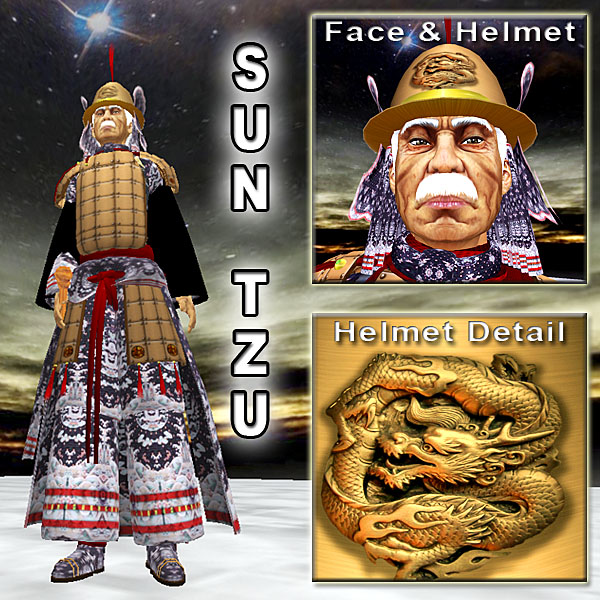 Sun Tzu with new skin, hair, and armor